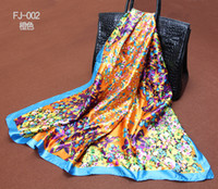 Wholesale 2014 Big Size x90cm Bohemian Heart Silk Square Scarf Women Fashion High Quality Cheap Imitated Silk Satin Scarves Polyester Shawl Hijab
