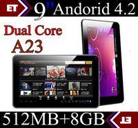 DHL 9 pulgadas de AllWinner A23 Tablet PC de doble núcleo dual de las cámaras capacitiva WIFI 512M 8GB Android 4.2 TA91