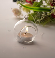 Wholesale Free EMS Shipping Dia cm Hanging Glass Ball Glass Vase Candle Holders for Wedding Christmas Ball