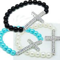 Beaded, Strands sideways cross bracelet - Crystal sideways Cross pearl Bracelets color mix Beaded Strands Stretch Bracelet women men cheap Fashion Jewelry