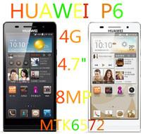 Wholesale 2014 Huawei Ascend P6 P6 U06 P7 Original New quot HD screen mobile phone mtk6572 dual core GHz GB Rom Russian spain Hebrew language