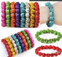 Beaded, Strands skull bracelet - Multicolor Turquoise Skull Strand Bracelets