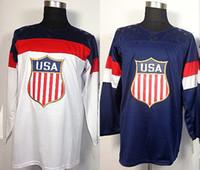 Cheap 2014 Sochi Olympics Team USA Plain Blank Hockey Jersey Fast & Free Shipping Stitched Numbers