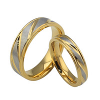 Wholesale Engagement and wedding rings K gold rings fashion couple rings for man and women stainless steel jewelry sets lovers wedding rings
