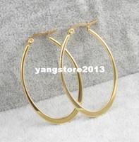 2014 new women's 14k gold earrings stainless steel hoop earr...