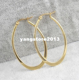 Wholesale Crystal Earring Hoop Steel - 2014 new women's 14k gold earrings stainless steel hoop earrings 4 color fashion jewelry