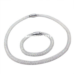 jewelry set necklace and bracelet for women stainless steel mesh jewelry set with CZ stone 3 COLOR FOR CHOOSE S-030