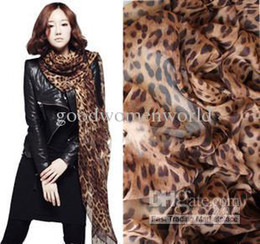 Wholesale Autumn and winter chiffon excellent fashion leopard print all match large scarf female thermal silk scarf cape