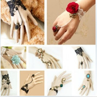 Wholesale Vintage Gothic Lace Rose Diamond Ring Bracelet style mix Retro Romantic Class women Hand ring Bracelets cheap Fashion Jewelry