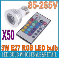 Wholesale 50X Energy Saving W E27 GU10 MR16 RGB E14 LED Bulb Lamp light Color changing IR Remote