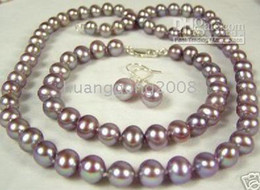 8-9mm Set Natural purple Pearls Necklace bracelet earring