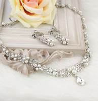 2015 Vente chaude boucles d'oreilles collier de mariage nuptiale bijoux ensemble engagement brillant cristal collier cadeau de mariage bijoux pour les femmes CN128