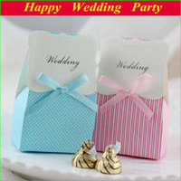 Wholesale 14012901 Paper Wedding Favor Boxes pink blue Korean Style Candy Gift Boxes with Ribbon