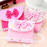Fabric sanitary napkin  Romantic lace bowtie warm-hearted STORAGE BAG for sanitary napkin pads!Women lovely sanitary napkins bags!Exclusive practical bags!