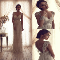 Wholesale 2014 Elegant Classic Sheer Crystal Beading Wedding Dresses V neck Cap Sleeve A Line V Backless Floor Length Lace Bridal Gowns Wedding Dress