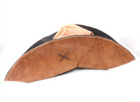 Wholesale Foldable Synthetic Leather Jack Sparrow Style Pirate Costume Hat Tri Corner Cap