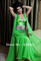 Cheap Sexy V Neck Beading Emerald Green Floor Length Arabic Dubai Abaya Kaftan Long Evening Dresses 2014 New Arrival