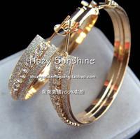 Wholesale Gold plated scrub bling diamond fashion large circle big hoop earrings