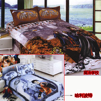 100% Cotton Woven 4 pcs Harry Potter comforter bedding bed full twin queen blue cartoon bed linen sheet duvet cover quilt bedspread magic school cotton