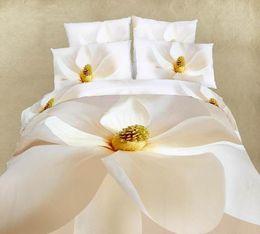 3D White bedding comforter set king queen size bedspread sheets duvet cover bed in a bag sheet linen oil painting 100% cotton bedroom bedshe