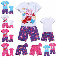 Wholesale DHL EMS summer baby boys girls pc sets baby peppa pig cartoon suits children george purple red jeans pants shorts sleeves T Melee