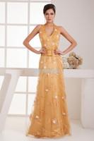 Cheap elie saab dresses 2014 formal design hot sale gold dress brides maid beaing handmade flowers halter evening Dress