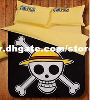 Cheap Cartoon One Piece Skull Skull flag bed quilt bed linen bedding a family of four black 1.2 m three