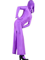 Wholesale Hot Sale Halloween Costume Purple Two Piece Lycra Spandex Zentai Suit With Dress And Pants latex r40 u10 H5