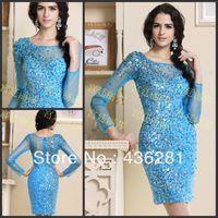 Wholesale 2014 Fashion Scoop Beads Sequins Zipper Long Sleeve Sheath Column Short Mini Light Sky Blue Tulle Net Cocktail Dresses