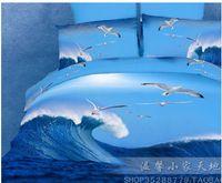 Adult Twill 100% Cotton 3D Blue seagull oil painting comforter bedding set queen size comforters sets sheet duvet quilt cover bed linen bedcloth cotton