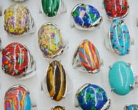 Wholesale 25pcs BIG Pattern Natural Stone Rings Costume Jewelry Accessories Party Ring