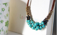 Wholesale Turquoise flower bead necklace new fashion statement necklace leather necklace crystal necklace women