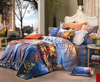 100% Cotton Woven Adult Egyptian cotton blue satin bedding comforter set king queen size bedspread duvet cover sheets bed in a bag sheet linen quilts comforters bed