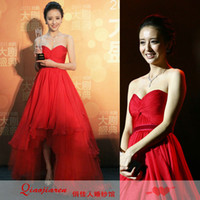 Cheap bandage dress 2014 new arrival Sexy red low-high tube top chiffon corsets with sleeves full dress red bridemaid dress