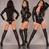 Wholesale New Brand Catsuit Faux Leather sexy lingerie Body Suits For Women Club Wear Hot Sales