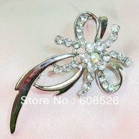 Cheap free shipping 1 piece Pave Cubic Zirconia Silver Tone Fancy Knot Bow Ribbon Brooch Pin, item no.: BH7387