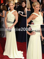 Wholesale Giuliana Rancic th Oscar Awards A Line Floor Length Cross Straps Chiffon Sleeveless White Prom Evening Party Cocktail Quinceanera Dress