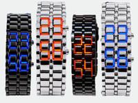 LED watch led lava watch - Mix colors LED Electronic Digital Watch Lava Style Iron Samurai Metal LED Watch LL001