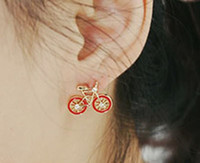 bicycle jewellery - Min Order Mix Jewelry order White Black Red Korean Bicycle Eardrops Bike Rhinestone Danglers Fashion Jewellery Earrings E2101