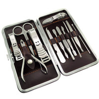 Wholesale 12 in nail care set utility stainless steel manicure set nail clipper manicure tools set kit
