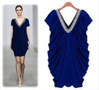 Wholesale New fashion slim style Big Size cotton chiffon formal fabric rivert V neck sexy elegant elasticity woman dress black blue ewsd4198