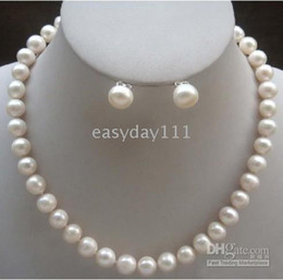REAL PEARLS JEWELRY 100% natural 8-9mm White south sea Pearls Necklace 18'' earring