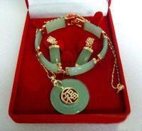 Wholesale stunning green jade bracelet earrings pendant set