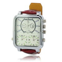 Sport Men's Wristwatches Stylish V6 PU Leather Band Three Quartz Movement Square Dial Metal Case Wrist Watch Brown for Men