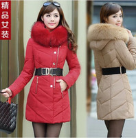 Wholesale winter New black Women s Down Jacket Thicken Medium long Down Jacket Heavy Hair Collar Hooded Coat size M XXL tk0880