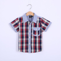 Boy Spring / Autumn Standard Hot Sale Children Red Grid T Shirts Baby Striped Shirt Boys Kids Cotton T shirts Embroidery Lapel Short sleeve Tshirts Shirts 5pc lot Melee