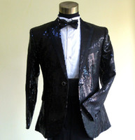 Custom made New Men's Suits 4 pcs! Hot Sequin Black Groom Tu...