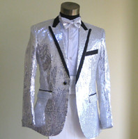 Custom made New Men's Suits 4 pcs! Sequin 2014 White Groom T...
