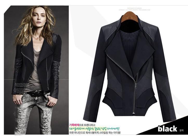 Women Fashion Spring Autumn Motorcycle Jackets Coats Ladies Sexy Deep