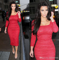 Cheap Vestidos Formales 2014 Tea Length Kim Kardashian Red Carpet Dresses With Long Sleeves Red Lace Formal Cocktail Evening Celebrity Dresses